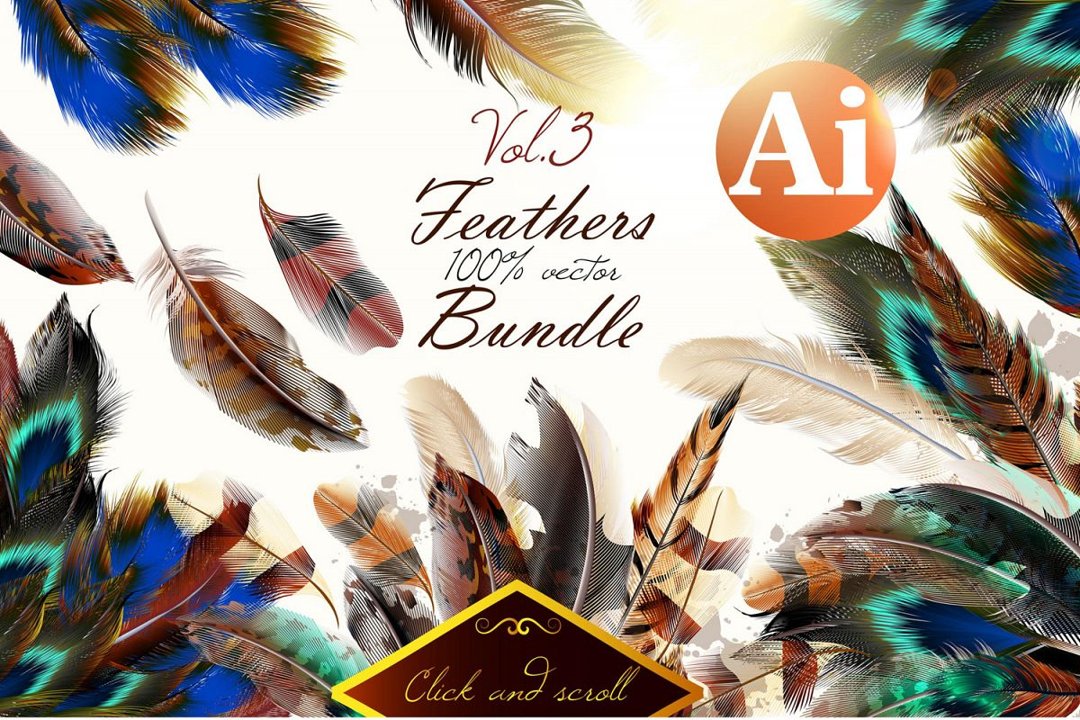 Colorful feather bundle. Vector illustrations and elements example image 1