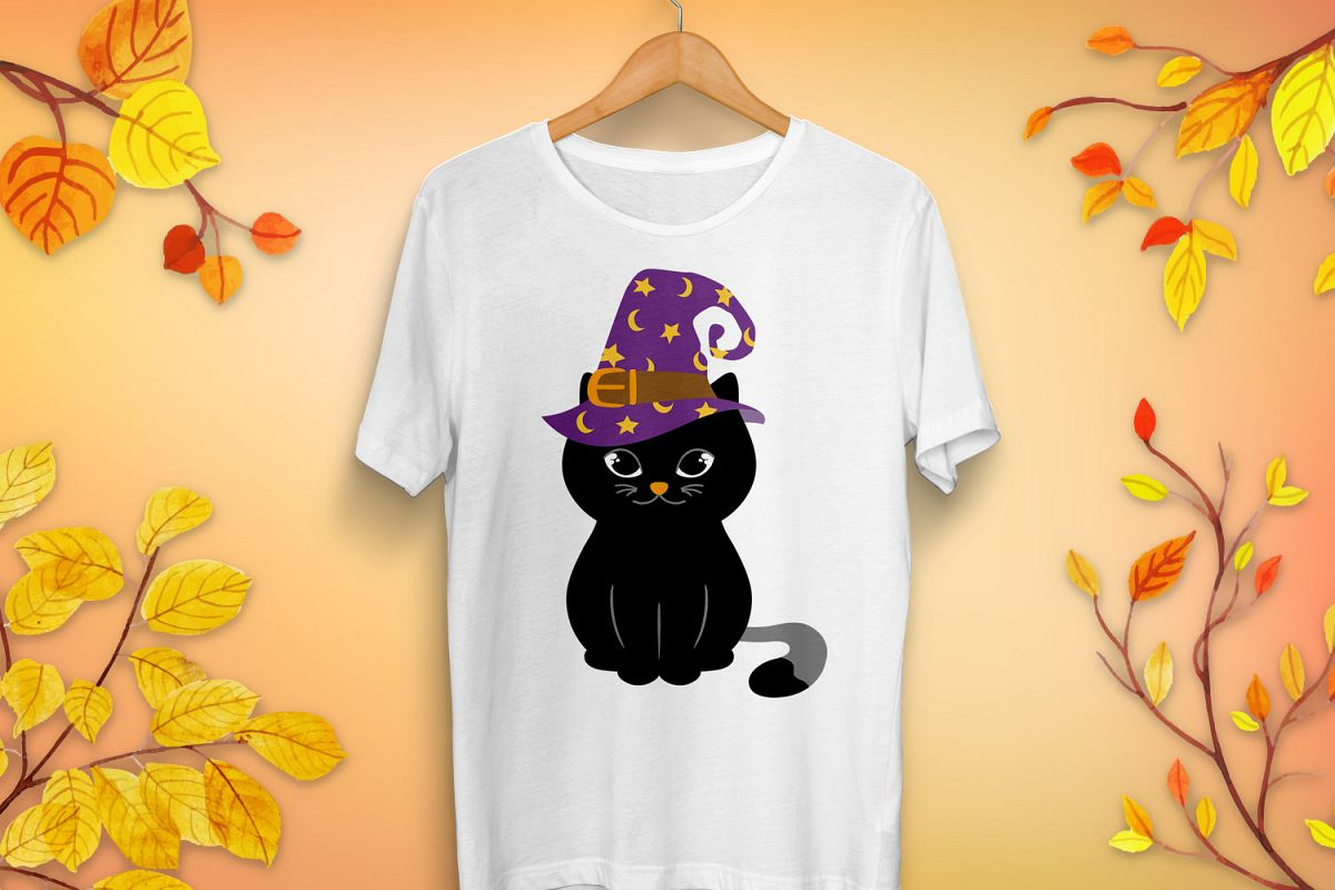 Halloween Cat in Witch Hat SVG - Halloween cut files example image 1