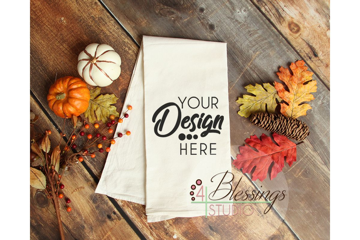 Kitchen Towel Mockup, Thanksgiving, Fall Flour Sack Towels Example Image 1
