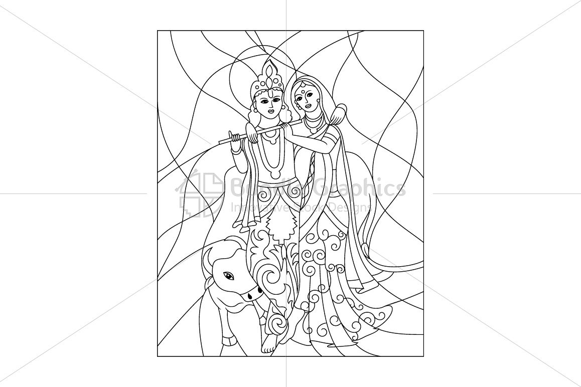 Radha Krishna in Gokul - vector graphic Illustration example image 1
