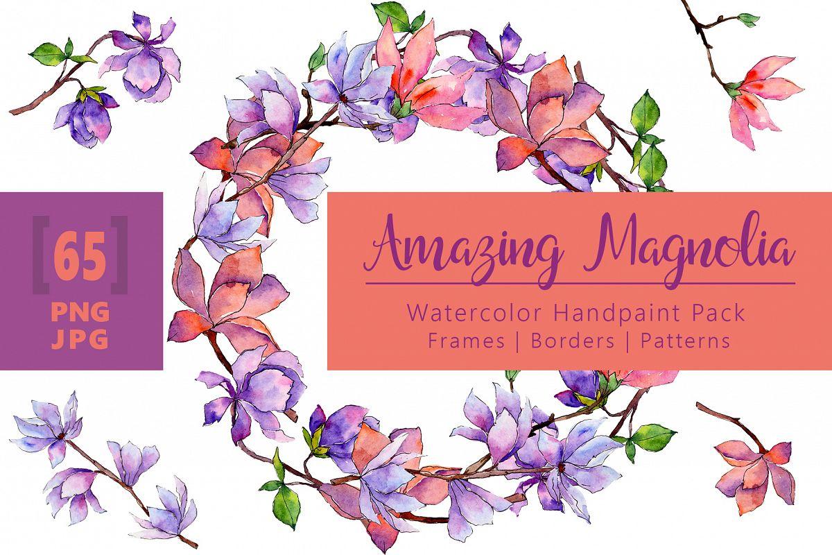 Amazing magnolia JPG watercolor flower set example image 1