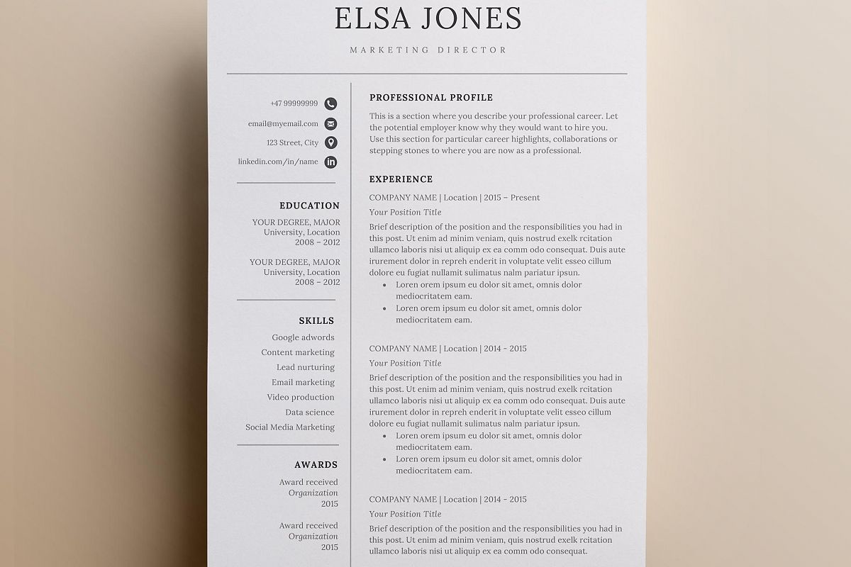 Resume Template Cover Letter Icon Set For Microsoft Word
