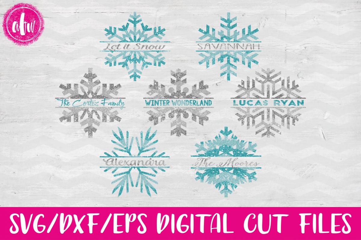 Split Snowflake Set - SVG, DXF, EPS Cut File example image 1