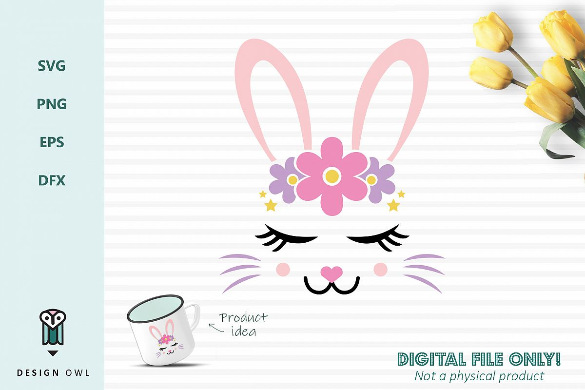Bunny face- Easter SVG cut file example image 1