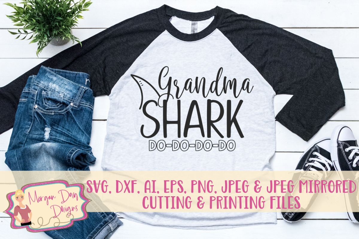 Grandma Shark SVG, DXF, AI, EPS, PNG, JPEG example image 1