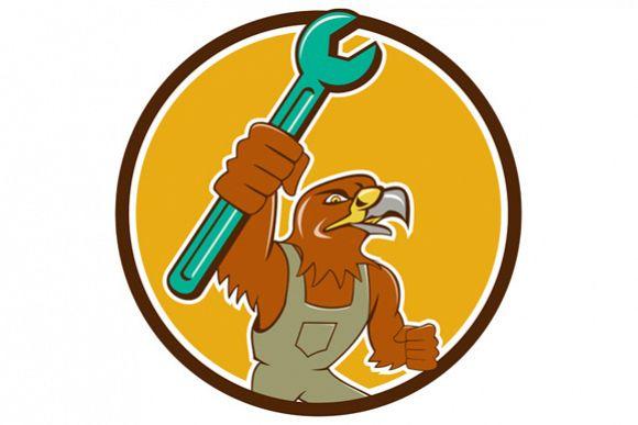 Hawk Mechanic Pipe Spanner Circle Cartoon example image 1