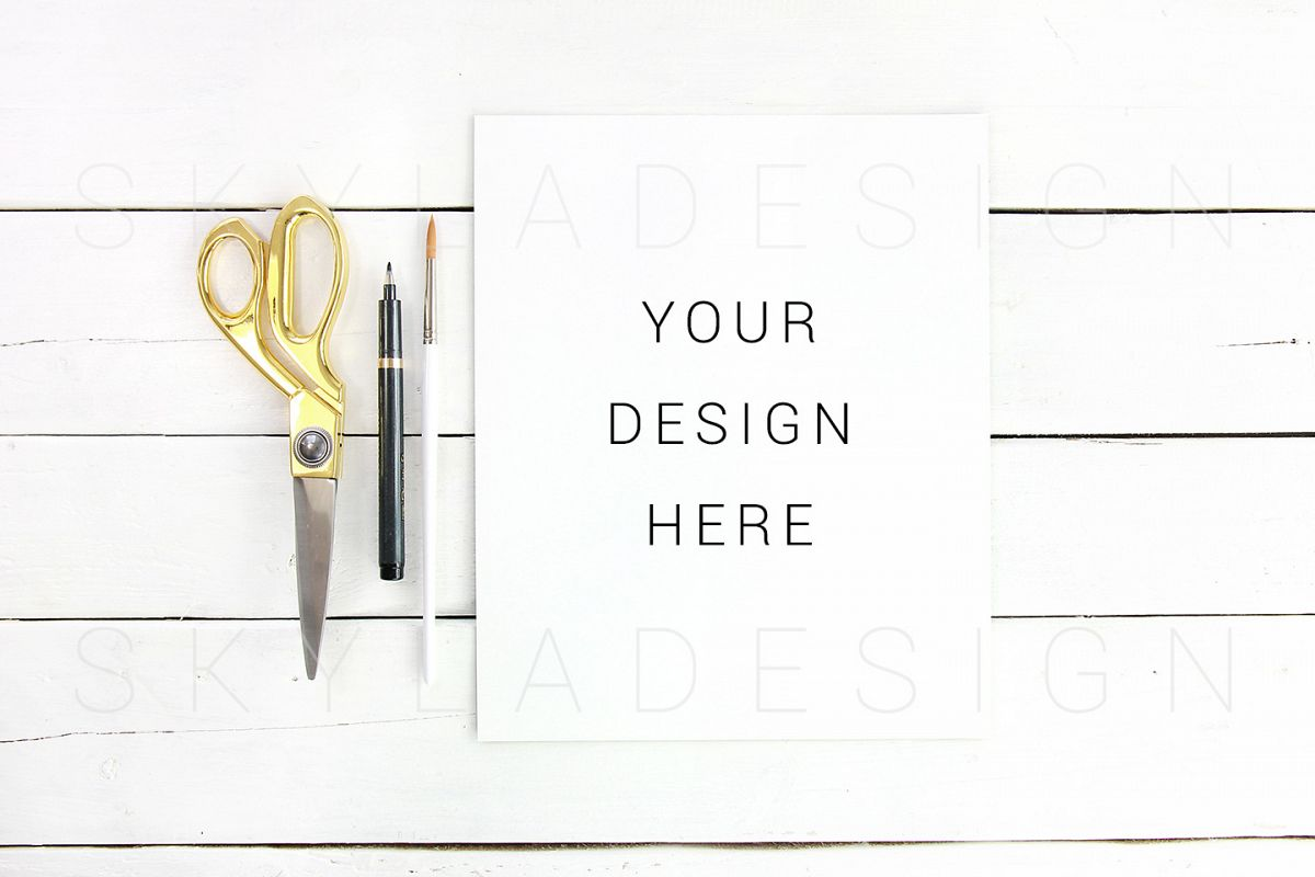Gold flatlay quote mockup, feminine styled stock example image 1
