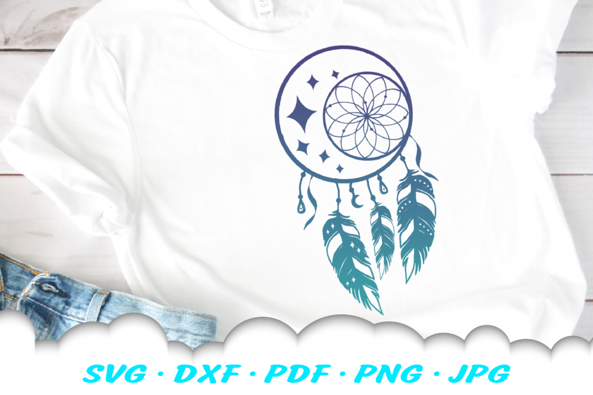 Dream Catcher Celestial Feathers SVG DXF Cut Files example image 1
