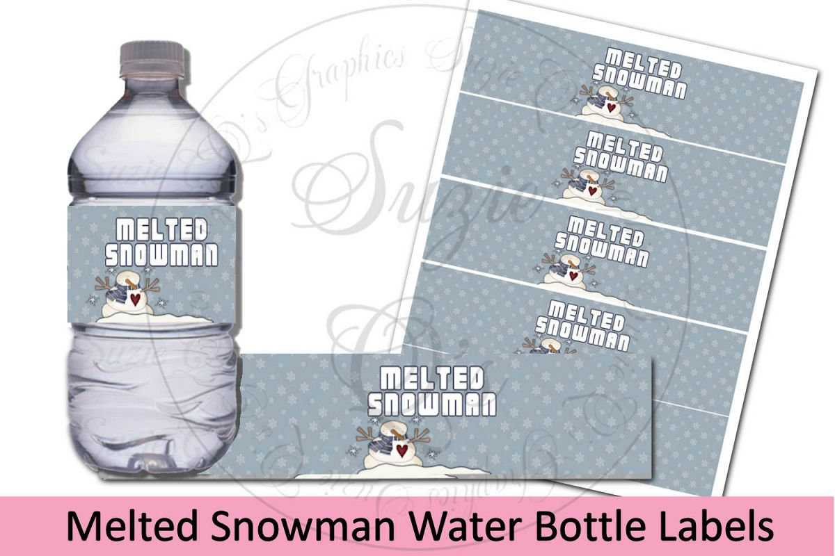 Melted Snowman Water Bottle Labels - Blue example image 1