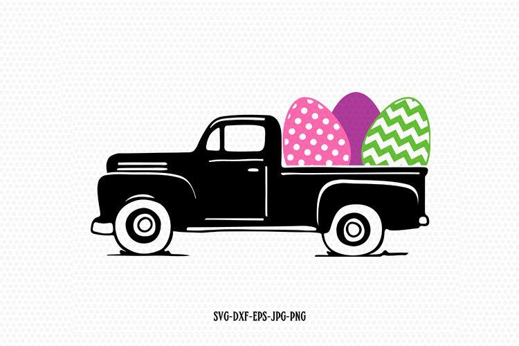 Easter vintage Truck Svg, Easter old Truck svg example image 1