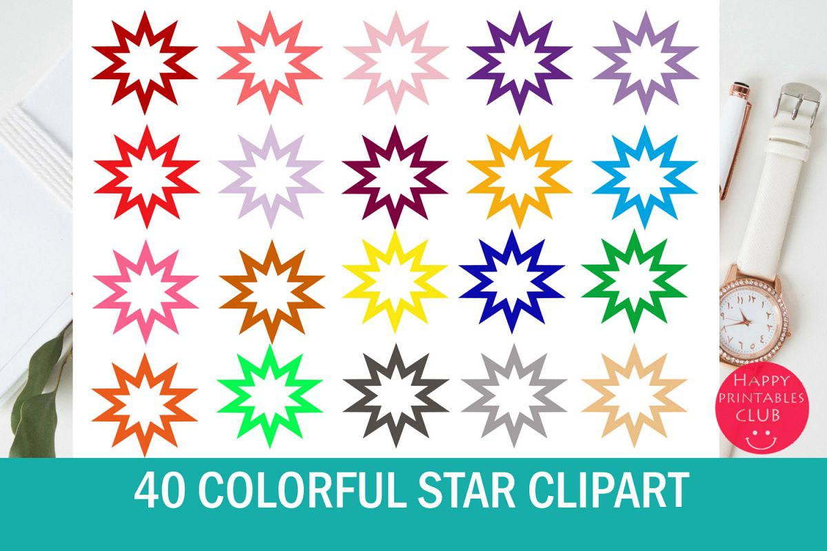 40 Star Clipart Set example image 1