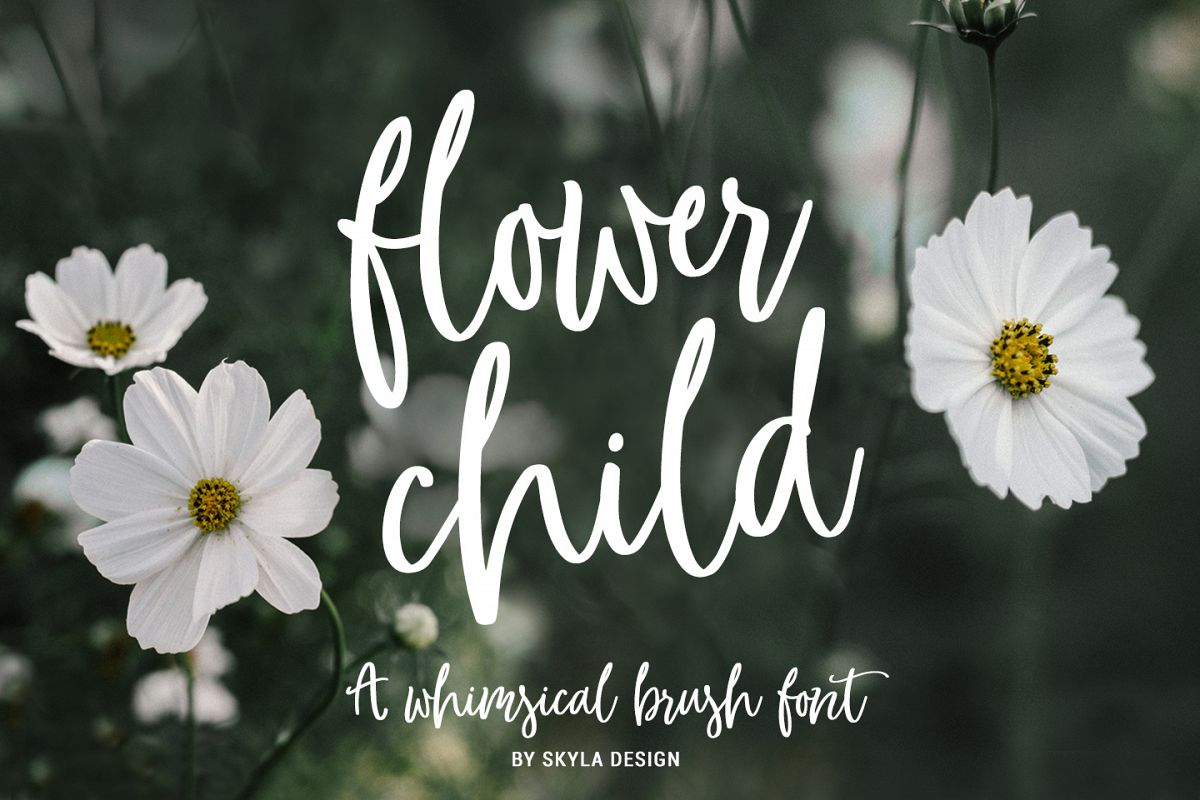 Whimsical modern brush font, Flower Child example image 1