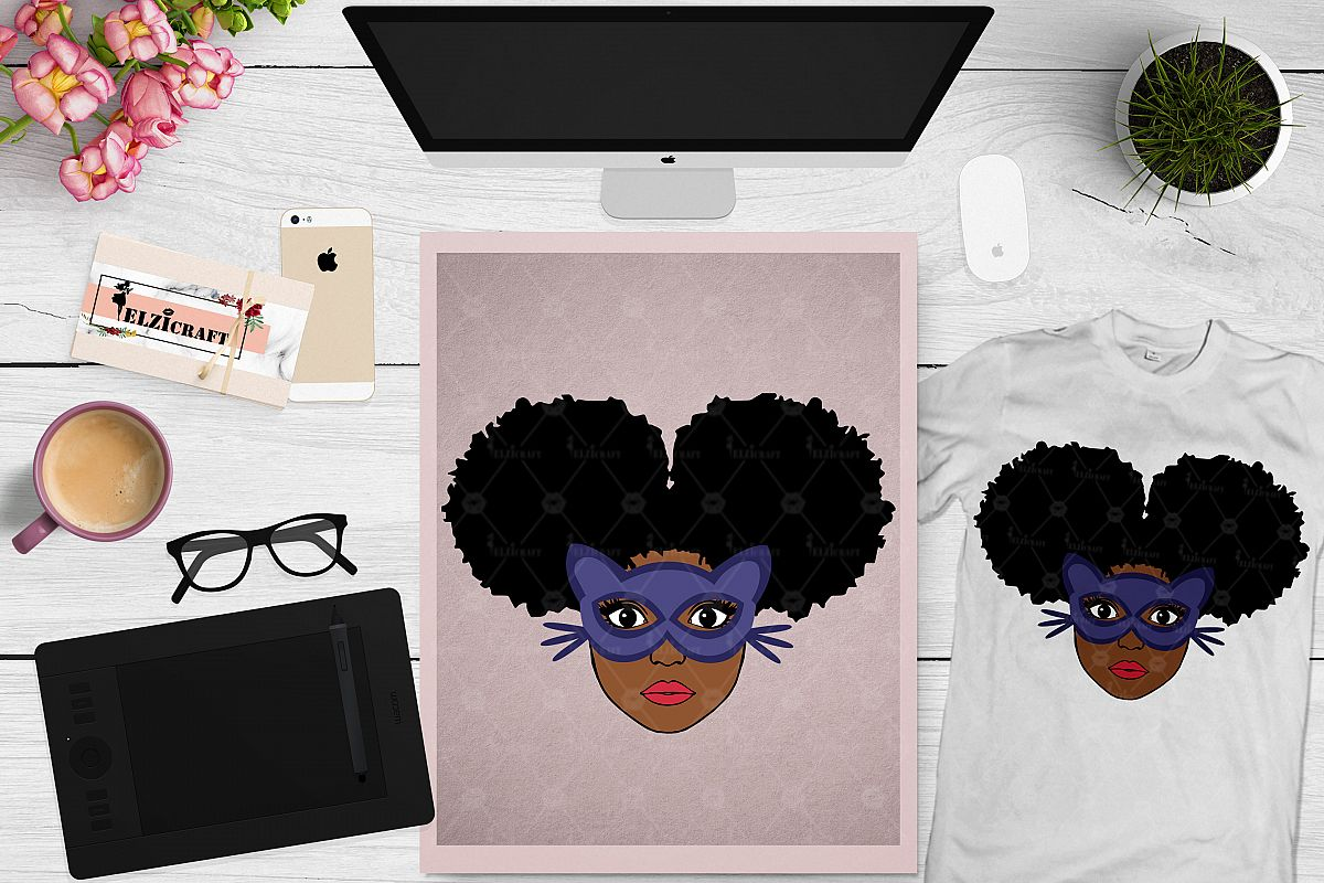 Afro Girl, Afro Puff, Cat Woman, Cat Mask SVG Cut File example image 1