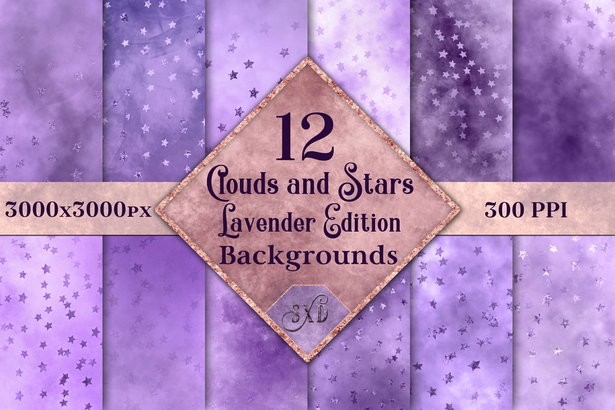 Clouds and Stars Lavender Edition Backgrounds - 12 Images example image 1