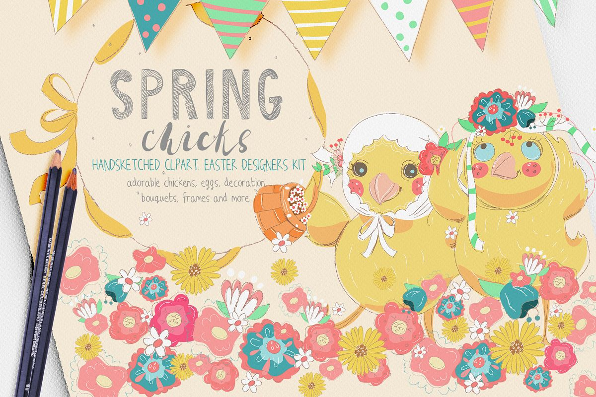 Spring Chicks Easter Clipart example image 1