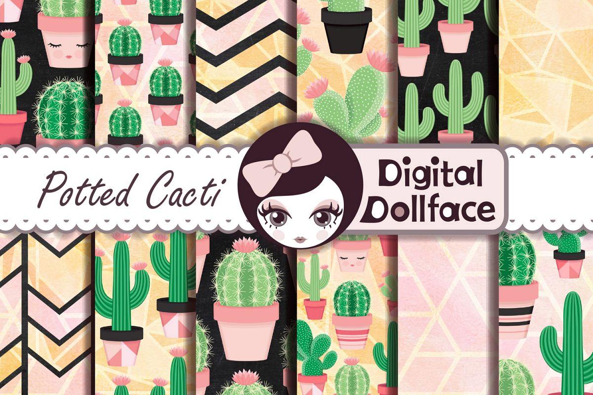 Cactus Patterns / Succulent Digital Paper example image 1