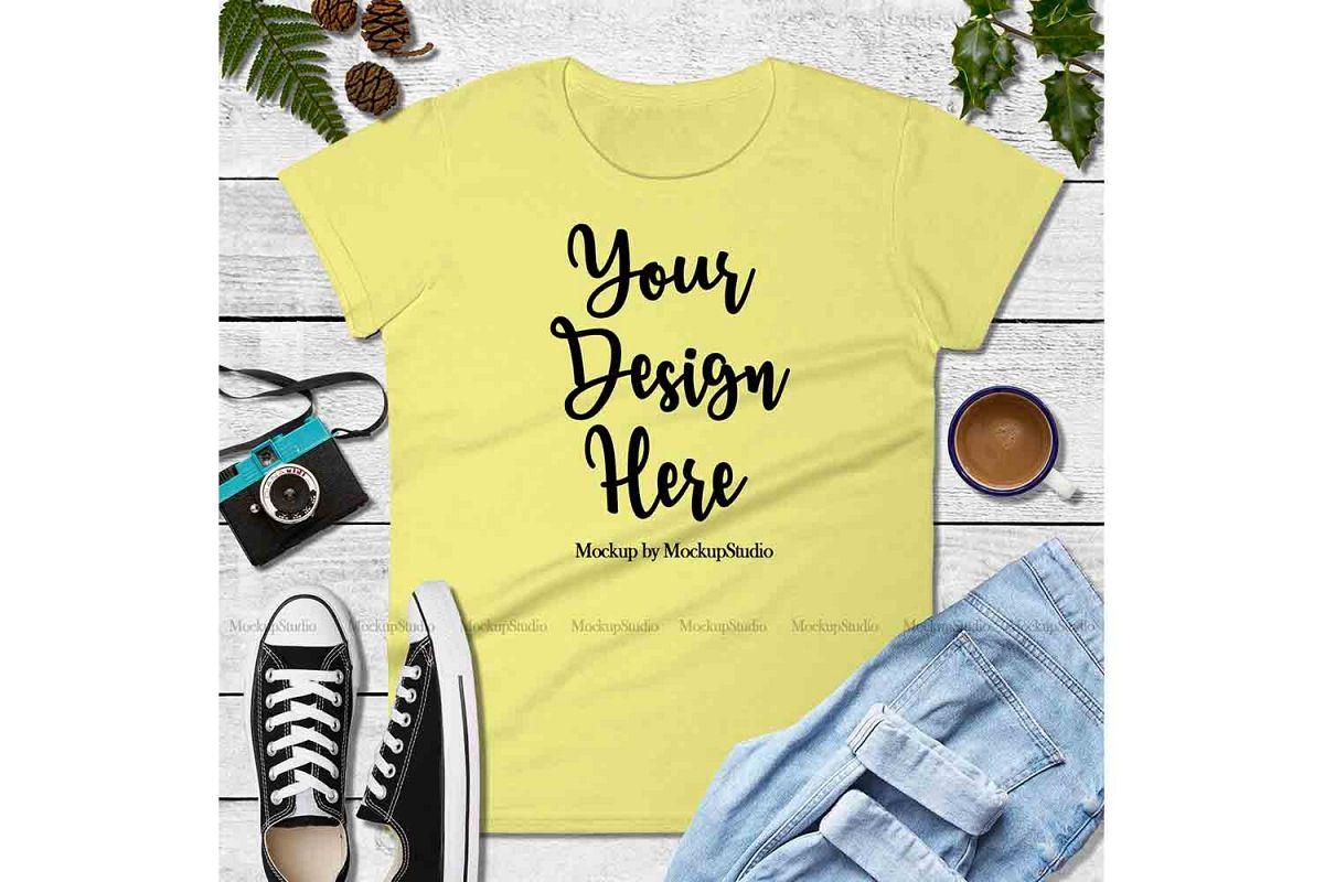 Yellow Shirt Mock Up, Anvil 880 Tshirt Mockup, Tee Flat Lay example image 1
