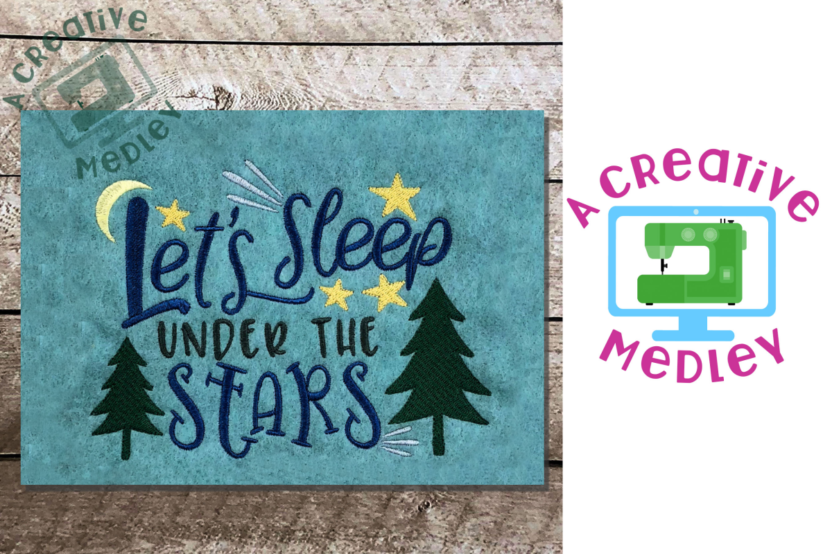 Lets Sleep Under the Stars Embroidery Design example image 1
