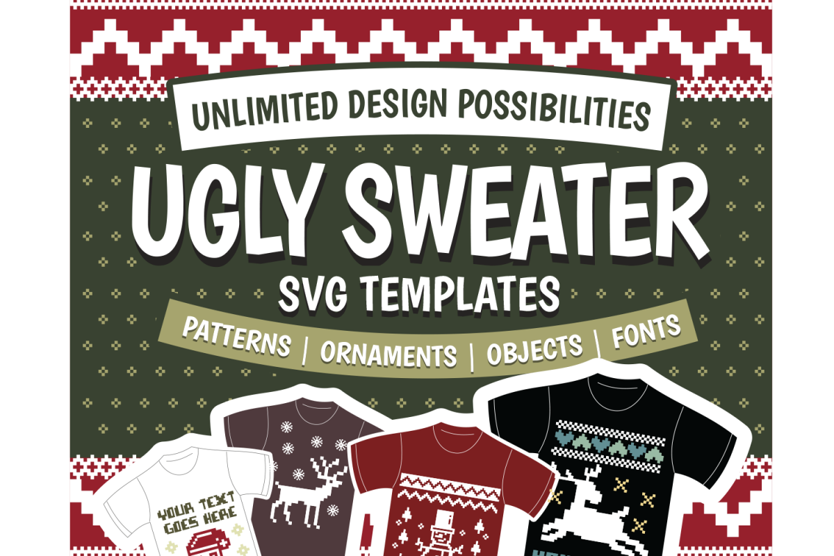 Ugly Sweater Svg Template Vol 2 In Svg Dxf Eps