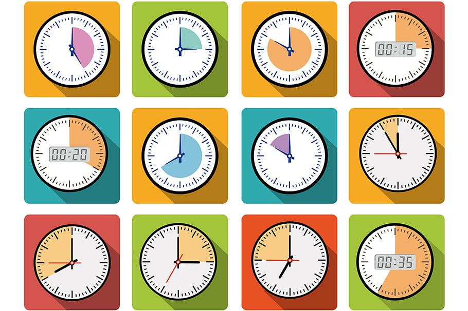 Set clock icons example image 1