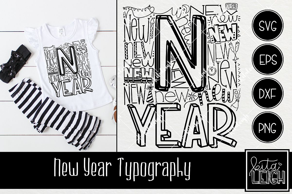 New Year Typography example image 1