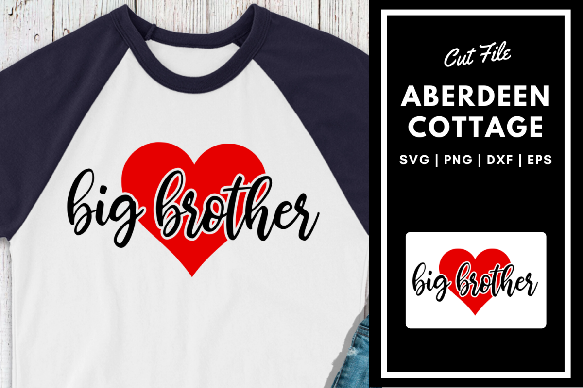 Big Brother Heart SVG Design  New Baby example image 1