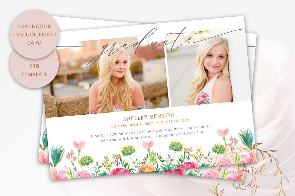 PSD Graduation Announcement Card Template - Design #8 example image 1