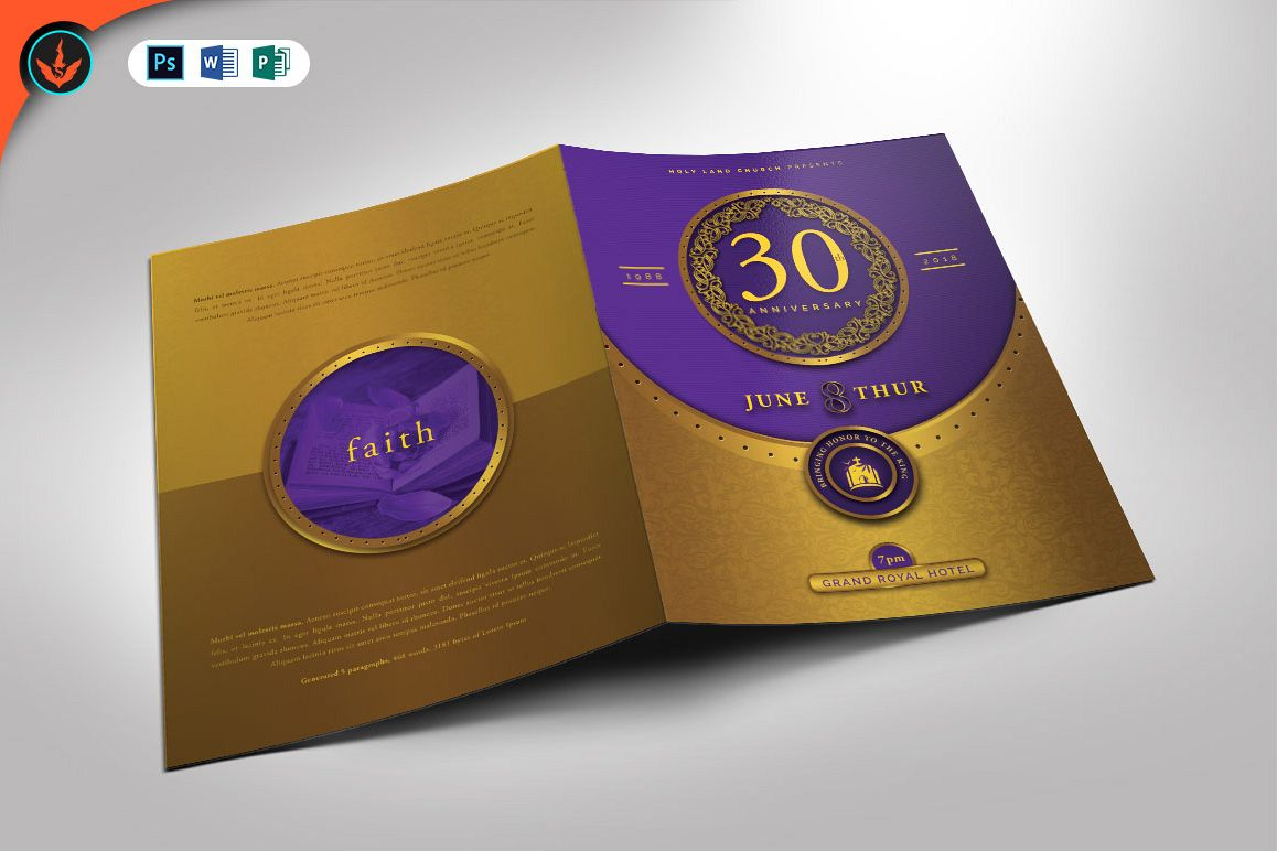 Gold And Violet Church Anniversary Program Template