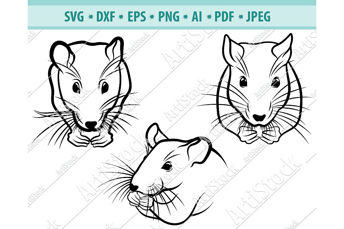 Rats SVG ,Symbol New year SVG,Mices Svg, Mouse Dxf, Png, Eps example image 1