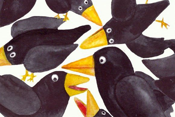 15 Watercolor Crows Clip Art Set example image 1