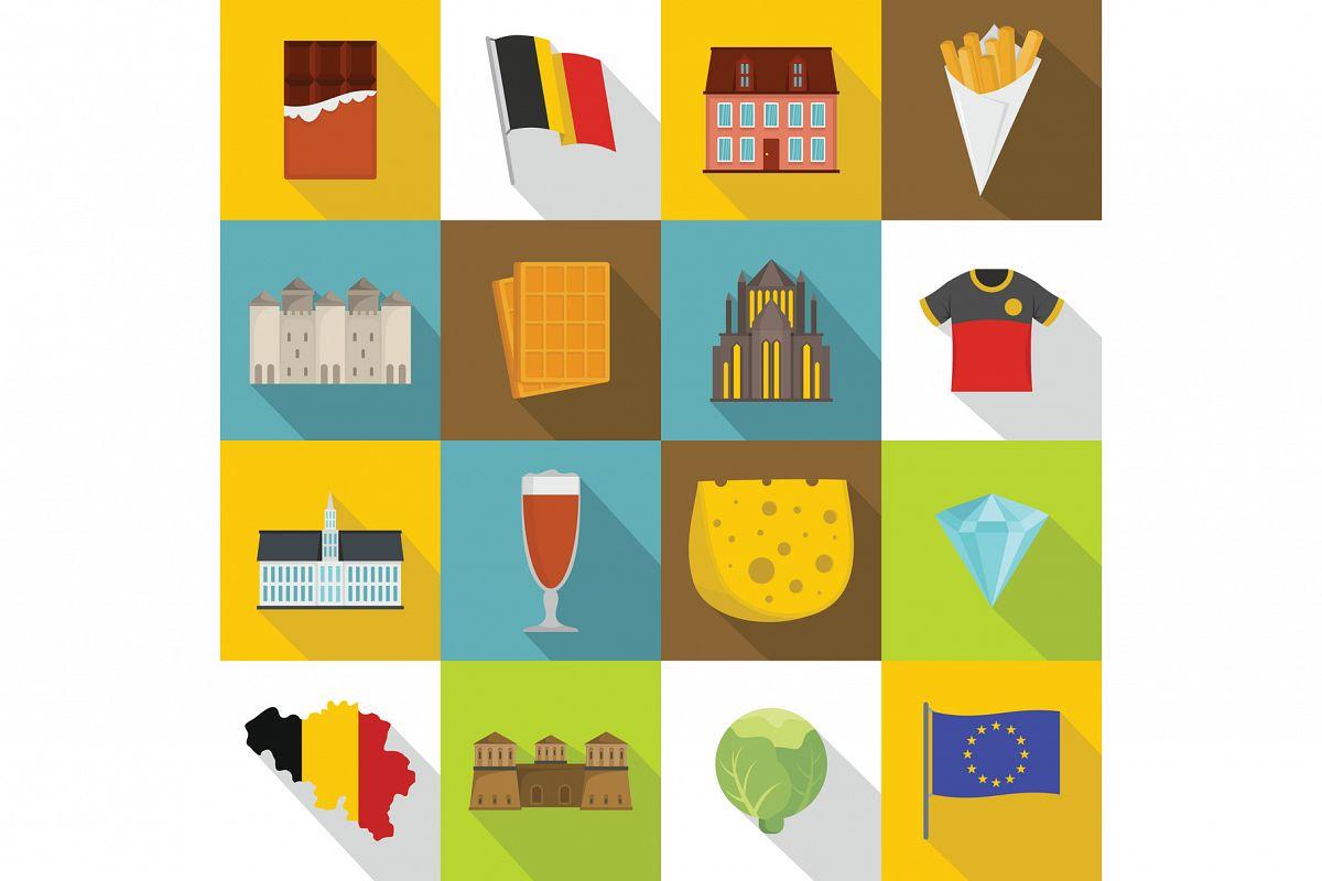 Belgium travel icons set, flat style example image 1