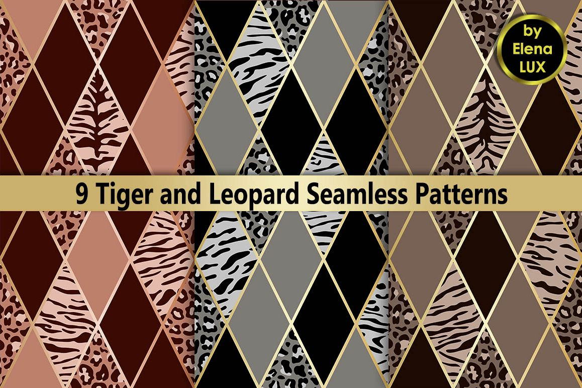 Tiger and Leopard Seamless Set example image 1