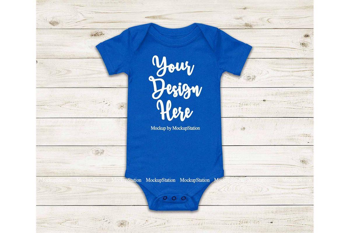 Baby Blue Bodysuit Mockup, Blank Newborn Toddler Tee Mock Up example image 1