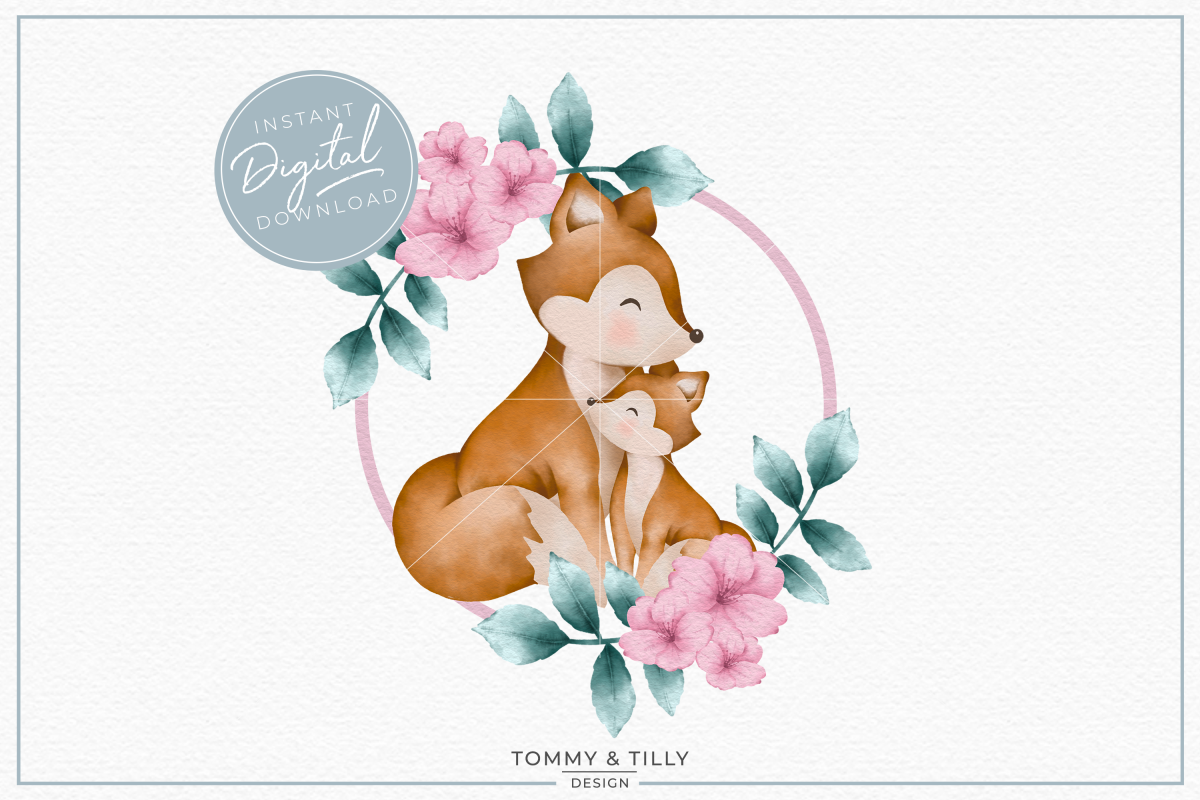 Wreath Mummy and Baby Fox - Sublimation PNG Clipart example image 1