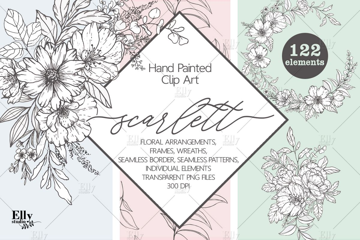 Modern Floral Graphic Set Hand Painted Flowers