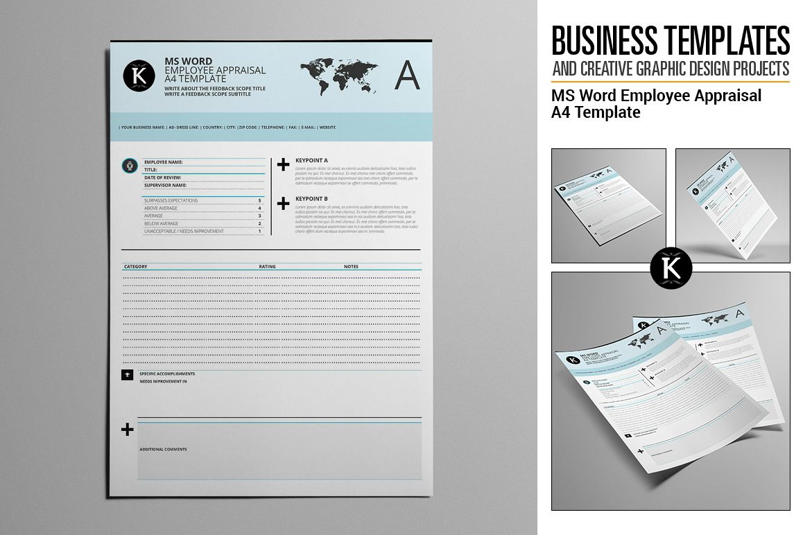 MS Word Employee Appraisal A4 Template