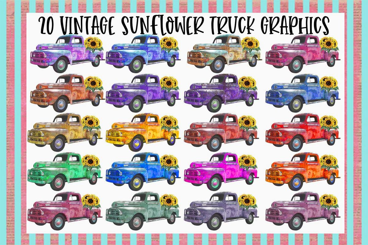 20 Vintage Sunflower Truck Graphics Bundle example image 1
