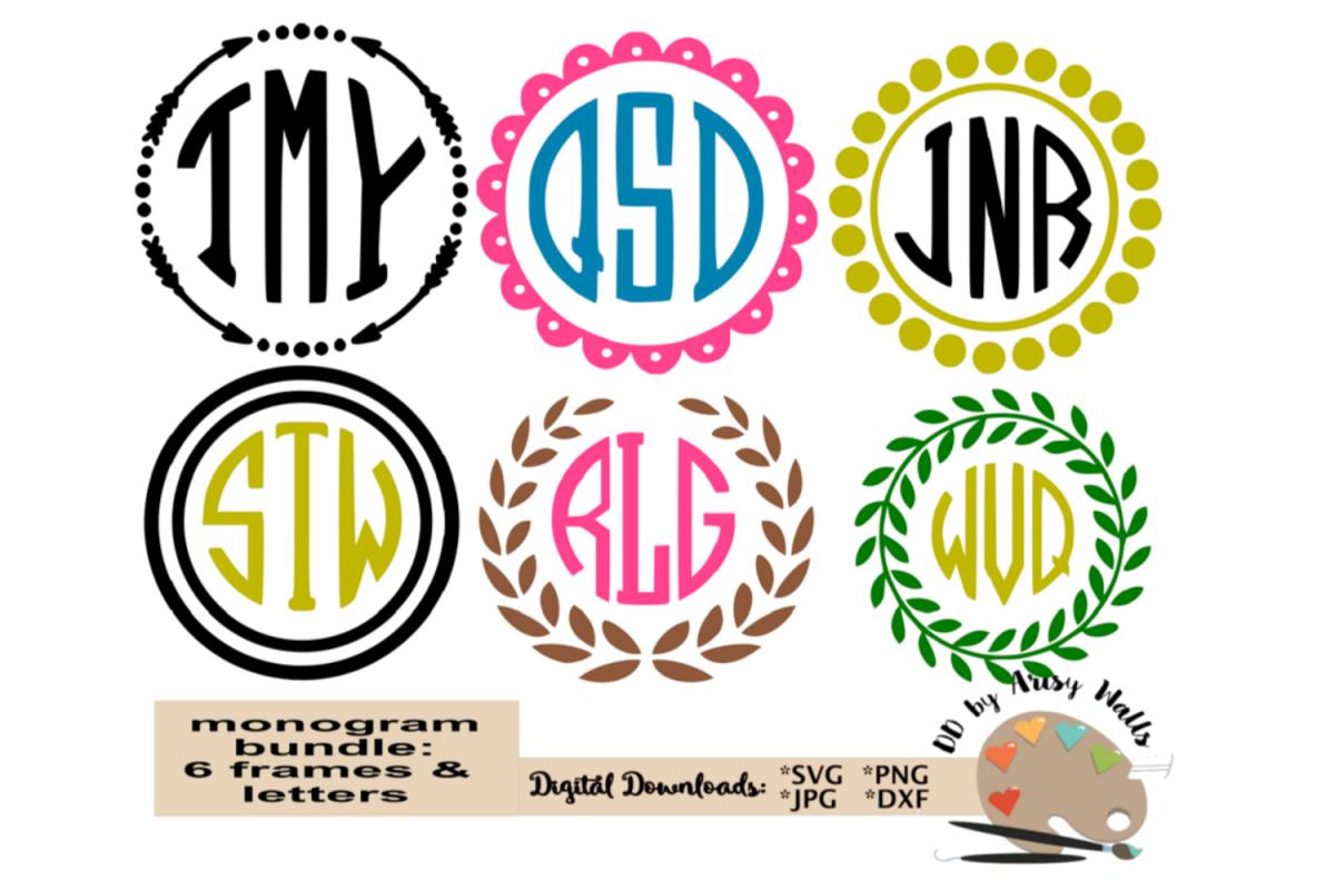 monogram alphabet bundle, Monogram frames bundle svg dxf jpg example image 1