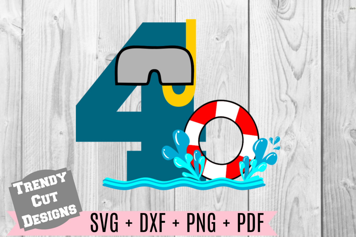 Pool Party Number 4th Birthday SVG example image 1