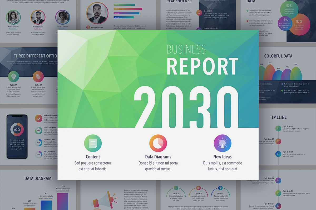 Business report colorite powerpoint tem design bundles business report colorite powerpoint template example image toneelgroepblik Gallery