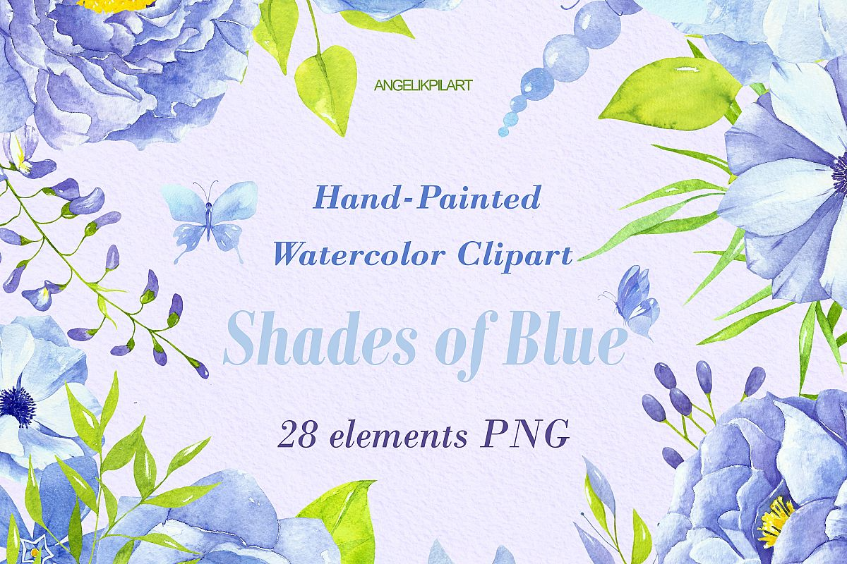 watercolor collection shades of blue example image 1