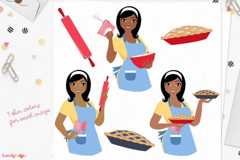 Woman baking character clip art L180 Wendy example image 1