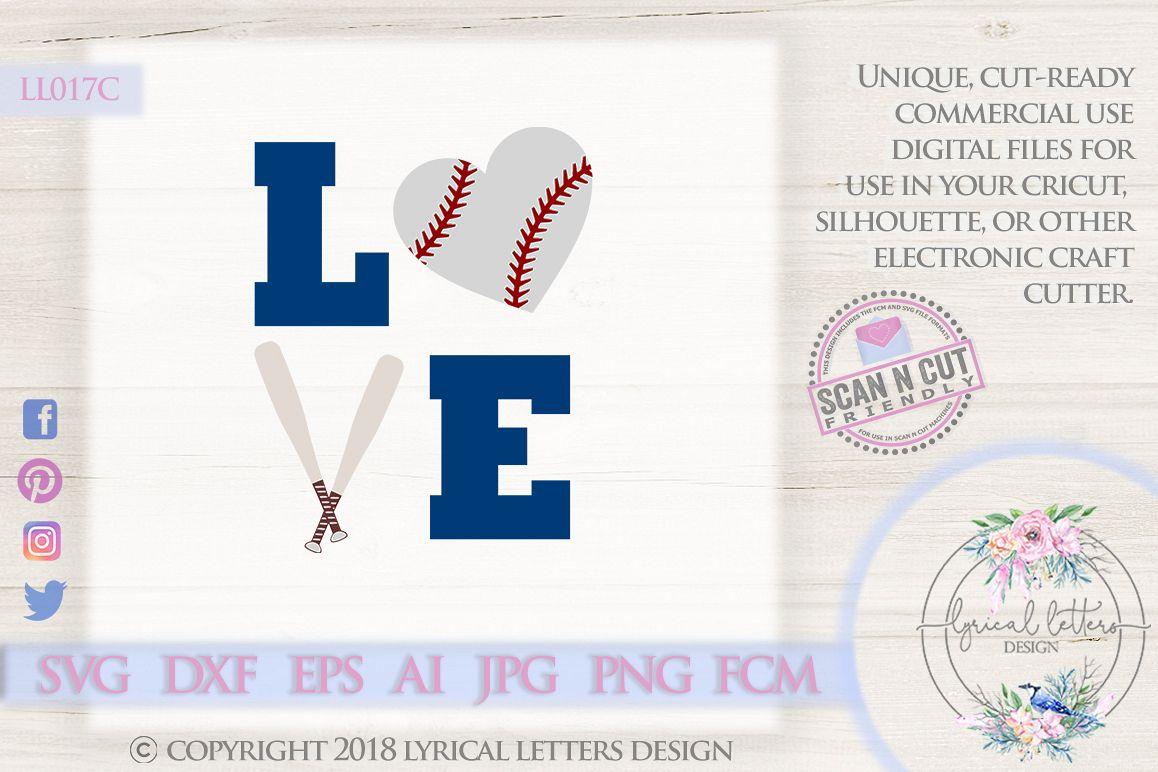 Baseball or Softball Love with Baseball Heart SVG DXF LL017C example image 1
