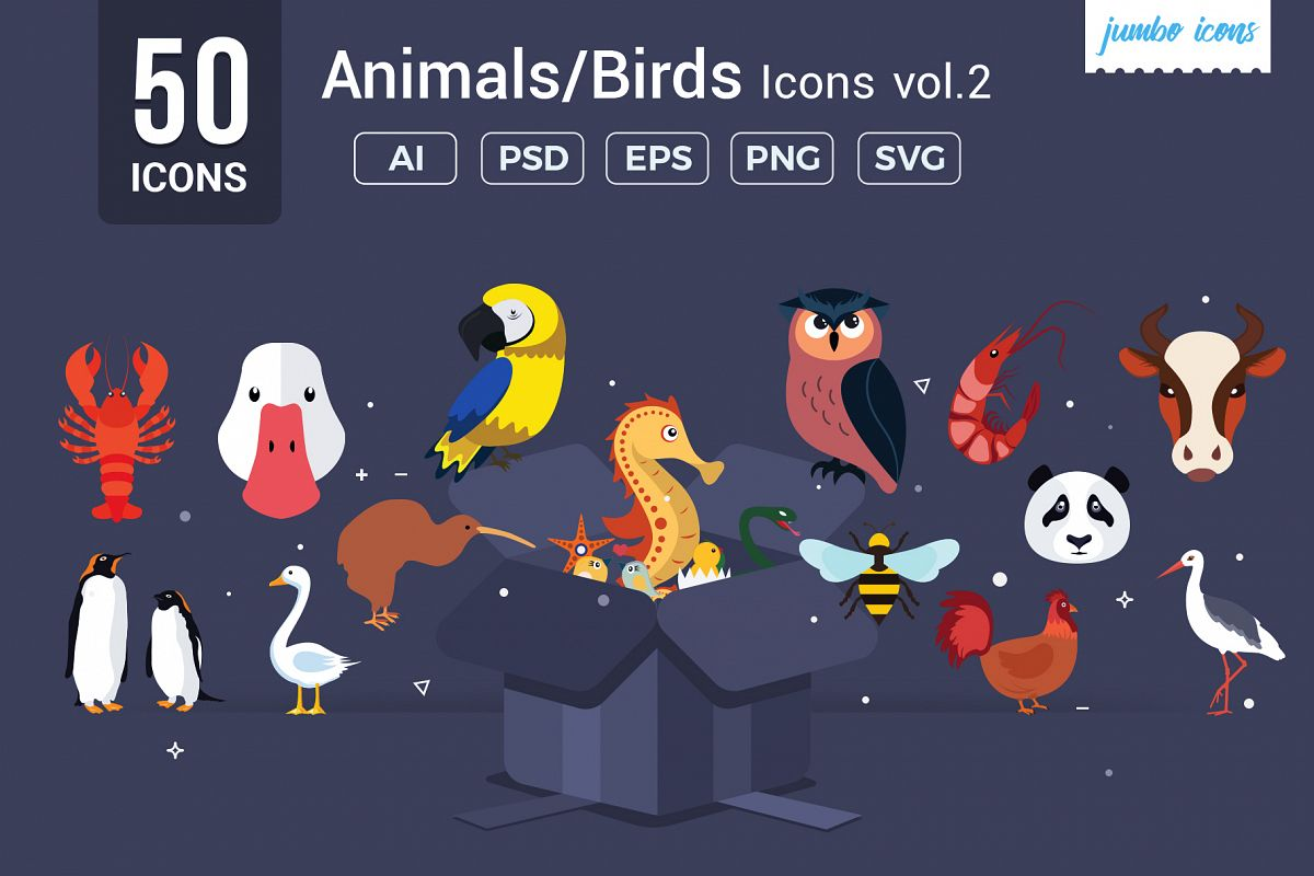 Animals, Birds, Insects Vector Icons example image 1