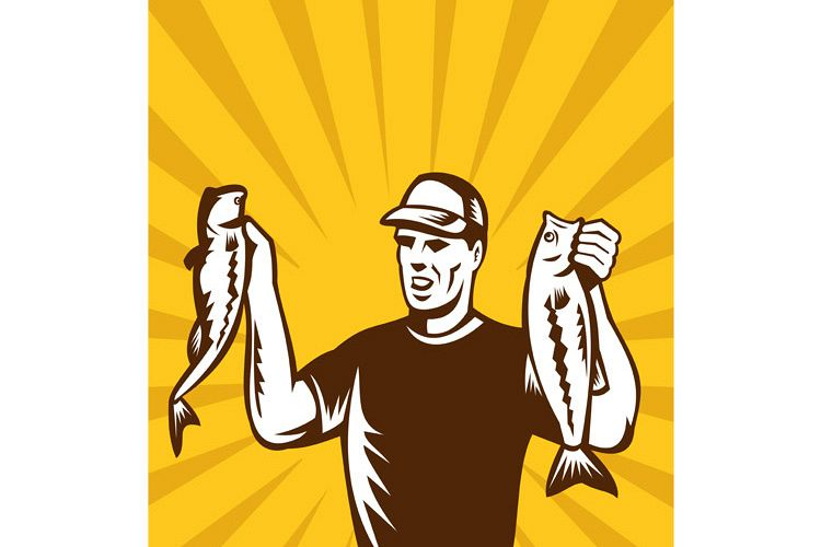 Fly Fisherman holding up bass fish catch example image 1