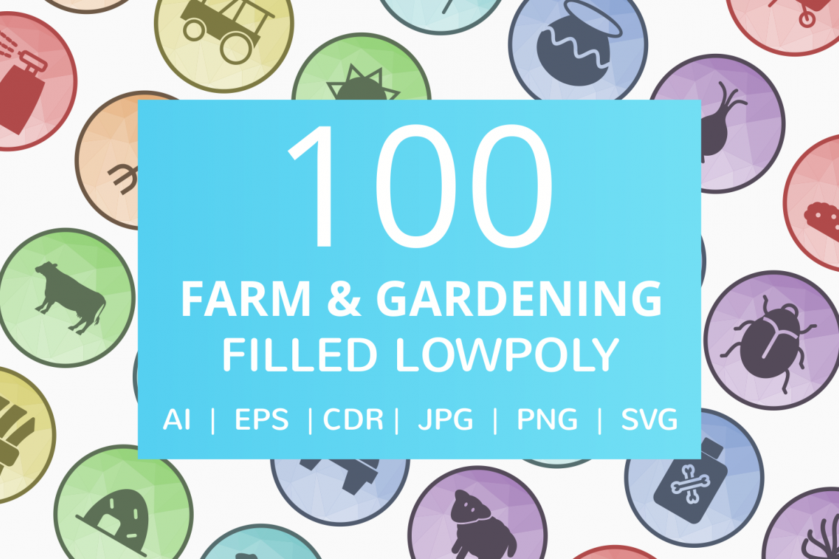 100 Farm & Gardening Filled Low Poly Icons example image 1