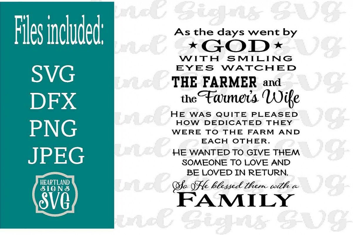 God Blessed Farmer with Family SVG example image 1