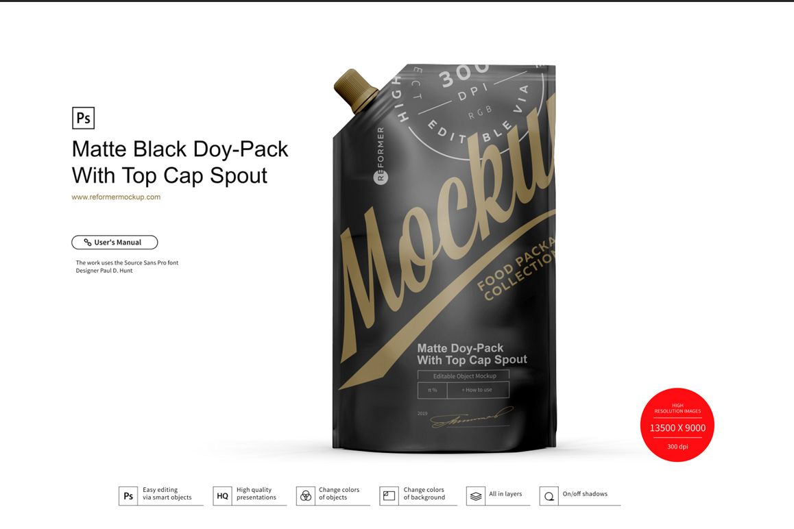 Matte Black Doy-Pack With Top Cap Spout example image 1
