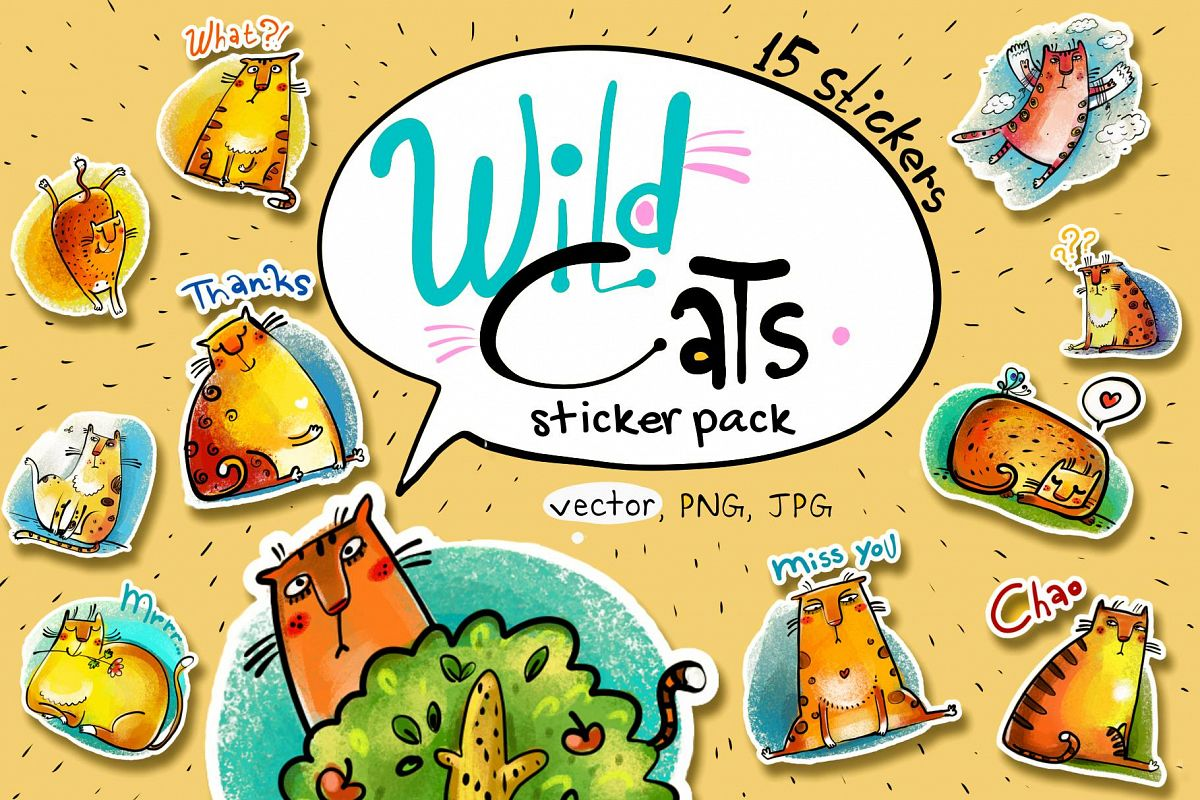 Wild Cats - sticker pack example image 1