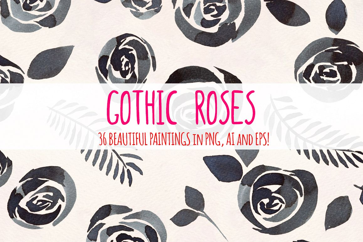 Black Gothic Roses 36 Watercolor Clipart Paintings example image 1